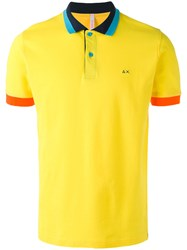 Sun 68 Contrast Polo Shirt Yellow Orange