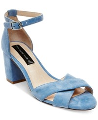Steven By Steve Madden Voomme Ankle Strap Block Heel Dress Sandals Women's Shoes Blue Suede