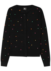 Paul Smith Black Polka Dot Wool Cardigan