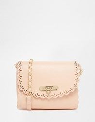 Asos Scallop Cross Body Bag With Laser Cut Out Nude Pink