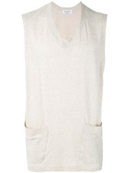 Yohji Yamamoto V Neck Sleeveless T Shirt Men Cotton 3 Nude Neutrals