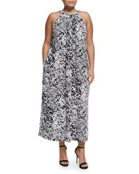 Chelsea And Theodore Plus Floral Print Halter Neck Sleeveless Maxi Dress Black White