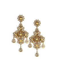 Jose And Maria Barrera Golden Floral Filigree Drop Earrings Women's