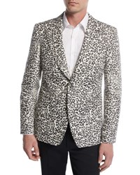 Alexander Mcqueen Faded Leopard Two Button Sport Jacket Black White Gray