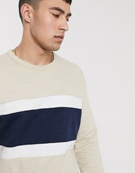 Hollister Small Logo Crew Neck Sweatshirt Chest Panel Stripe In Light Brown Navy