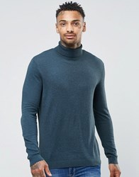 Asos Cotton Roll Neck Jumper In Teal Teal Green
