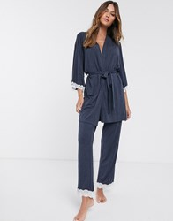 Dorina Henrietta Modal And Lace Pyjama Bottom In Grey