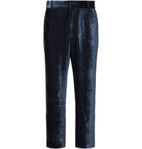 Sies Marjan Alex Cropped Silk And Cotton Blend Velvet Corduroy Trousers Navy