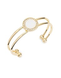 Rj Graziano Mother Of Pearl Pave Double Cuff Bracelet Gold