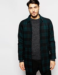 Peter Werth Wool Tartan Trench Coat Green