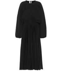 Valentino Pleated Cotton Blend Dress Black