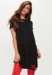Missguided Black Distressed Pocket T Shirt Dress