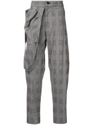 Chalayan Check Trousers With Draped Strap On The Side Grey