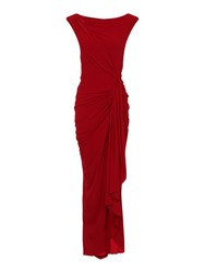 Hotsquash Grecian Maxi Dress In Clever Fabric Red