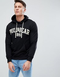 Pull And Bear Pullandbear Logo Hoodie In Black