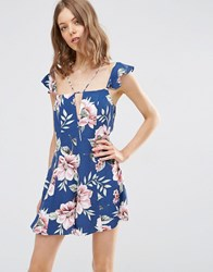 Asos Floral Strappy Playsuit With Frills Multi