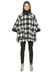 M Missoni Plaid Wool Cape Coat