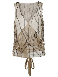 Isabela Capeto Wrap Mesh Waistcoat Nude And Neutrals