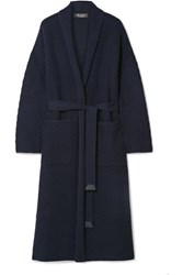 Loro Piana Belted Ribbed Cashmere Cardigan Midnight Blue