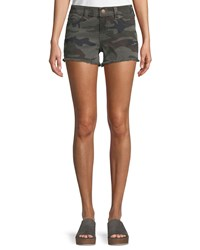 True Religion Kiera Mid Rise Camo Shorts Gray