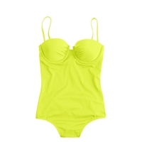 J.Crew Long Torso Neon Ruched Underwire One Piece Swimsuit Neon Yellow
