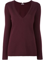 Malo V Neck Jumper Red