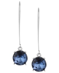 Kenneth Cole New York Earrings Silver Tone Blue Faceted Bead Drop Earrings