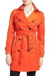 Michael Michael Kors Women's Belted Double Breasted Trench Coat Mandarin