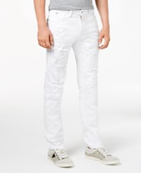 Guess Men's Slim Tapered Fit Ripped White Jeans Shattered Wash White W Destroy