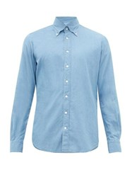 Thom Sweeney Button Down Collar Chambray Shirt Blue Multi