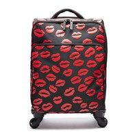 Lulu Guinness Lip Blot Soft Trolley Suitcase Black Red Black Red
