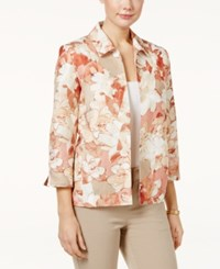 Alfred Dunner Open Front Floral Print Jacket Multi
