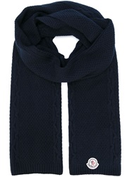Moncler Logo Patch Knit Scarf Blue