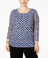 Alfani Plus Size Tiered Printed Mesh Top Only At Macy's Graphic Layer Blue