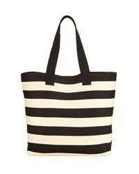 San Diego Hat Company Wide Striped Straw Tote Bag Black