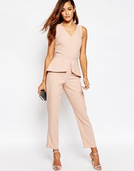 Asos Jumpsuit With Peplum Detail Pink