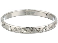 Betsey Johnson Blue By Silver Tone Bangle With Multi Shape Cz Crystal Accents Crystal Bracelet Gray
