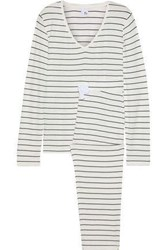 Iris And Ink Woman Sadie Striped Stretch Jersey Pajama Set Off White Off White