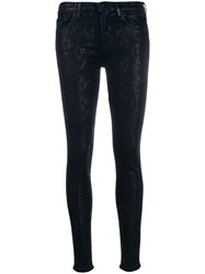 7 For All Mankind Snake Print Skinny Trousers Blue
