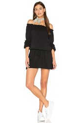 Chaser Off Shoulder Shirred Mini Dress Black