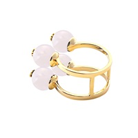 Meriko London Rose Quartz Four Stone Ring Pink Purple