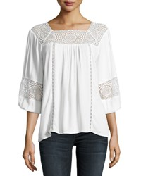 Joie Bellange 3 4 Sleeve Lace Top White