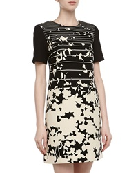 4.Collective Short Sleeve Striped And Floral Print Dress Ivomu