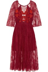 Sandro Shangai Open Back Embroidered Corded Lace Midi Dress Claret