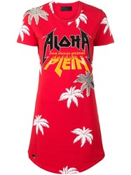 Philipp Plein Aloha T Shirt Dress Red