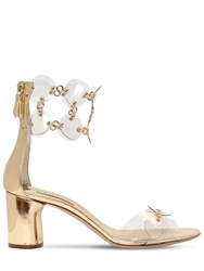 Casadei 60Mm Metallic Leather And Plexi Sandals Gold