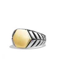 David Yurman Modern Chevron Gold Signet Ring Silver Gold