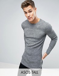 Asos Tall Longline Muscle Fit Ribbed Jumper Black White Twist Grey
