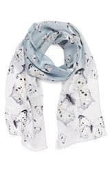 Women's Echo 'Snow Butterflies' Silk Oblong Scarf Ivory Winter Snow