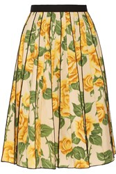 Marc Jacobs Pleated Floral Print Poplin Skirt Yellow